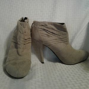 """WO Guess """"Jackey"""" Camel Faux Suede Booties - 7 1/2"""